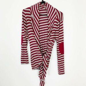EMERALD Valentine red stripe waterfall cardigan